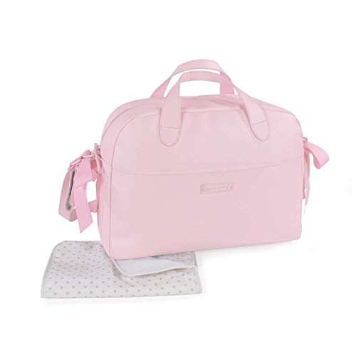 Pasito a Pasito. Bolsa para Carrito de Bebé Essentials. Bolsa Organizadora Práctica Elegante y con Espacio Amplio, Fabricada en Eco-leather de Color Rosa. Medidas 43 X 31 X 16 cm.