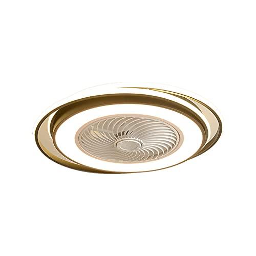 VOMI Led de Techo Remoto Control Lámpara de Techo Silencioso Blanca Luz de Techo con Fan Regulable Lámpara Plafon con Ventilador para Comedor Dormitorio Niño Salón Dormitorio, 36W*2+28W*2 Dorado