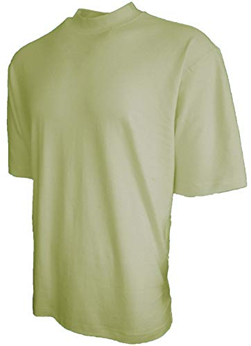 Good Life Brand 100% Cotton Mock Turtleneck Shirt Short Sleeved Pre-Shrunk 4 Colors (Large, Sage)