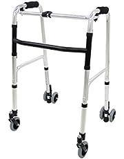 楽々健 折り畳み式歩行器 アルミ製 歩行補助器 5段階高さ調節 固定型 前後キャスター付き