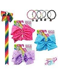JoJo Siwa Kids Girls Hair Bow Accessories Set (3 Rhinestone Bows, Bow Organizer, Set of 3 Bracelets)