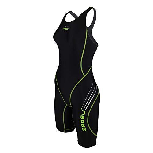 ZAOSU Wettkampf-Schwimmanzug Z-Black - Badeanzug für Mädchen und Damen, Farbe:schwarz/grün, Größe:176/36