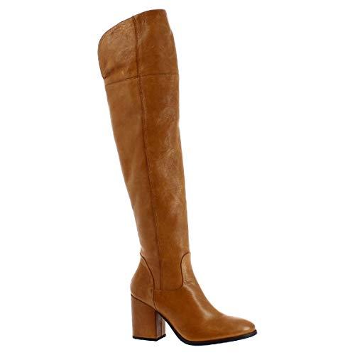 Leonardo Shoes Stivali al Ginocchio da Donna Tacco in Pelle Cuoio Fatti a Mano - Codice Modello: 5805/1 Stivale Rios Cuoio - Taglia: 38 EU