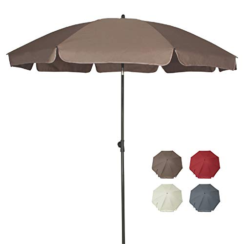 AMMSUN 6.5 ft Patio Umbrella Market Table Umbrella Tilt Steel Pole UPF50+ Protection, Great for Outdoor Garden Backyard (Taupe)