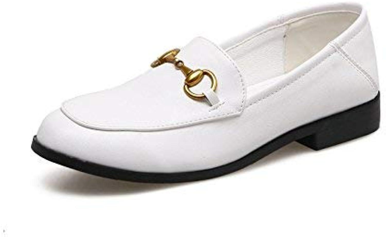 Eeayyygch Gericht Schuhe Runder Kopf mit dem britischen weiblichen Stil tiefen Mund Schuhe Damenschuhe Schuhe (Farbe   35, Größe   Weiß)  | Hochwertige Materialien  | Billiger als der Preis  | Ausgezeichnete Qualität