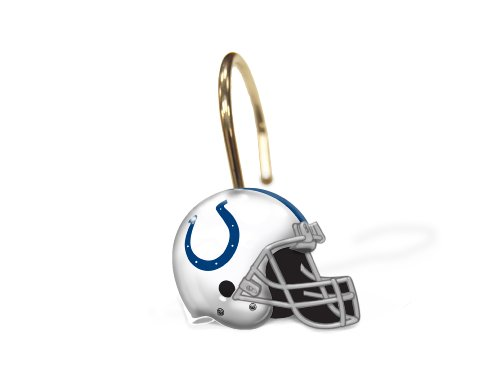 NFL Indianapolis Colts Shower Curtain Rings, Set of 12, One Size
