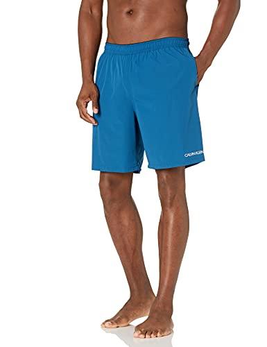 Calvin Klein Herren Men's 7 Inch Elastic Waist Quick Dry Swim Trunk Badehose, Blau Stretch, Large