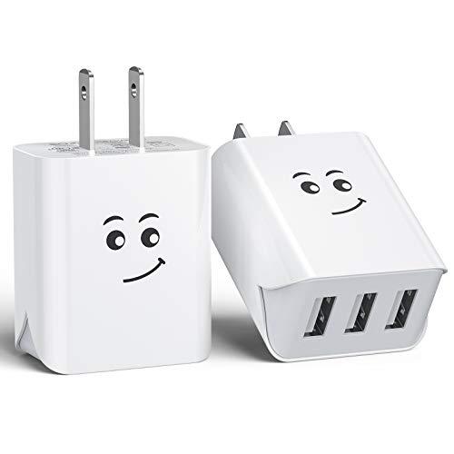 USB 充電器 USB コンセント 【2個セット PSE認証済】 ACアダプター 3ポート3.1A iPhone/Xperia/Samsung Galaxy/Android 等のUSB機器対応 (ホワイト)
