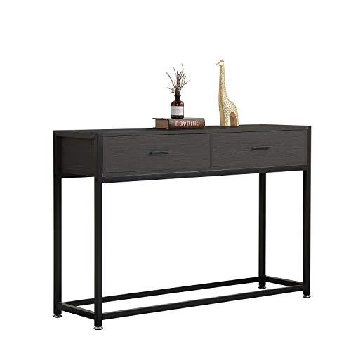 DlandHome Mueble de Consola con 2 Cajones Mesa Auxiliar 120 * 34 * 81cm Pies de Madera y Metal para Sala de Estar/Pasillo/Entrada, Marrón Oscuro & Negro