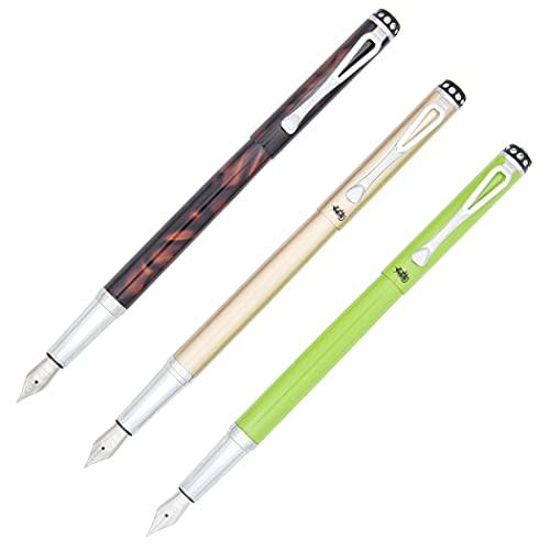 Gullor Jinhao 301 Fountain Pen, Medium Nib(0.5MM), 3 Colors, 3PCS