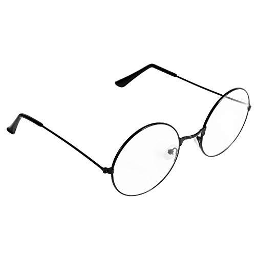 BESTOYARD TinkskyUnisex Occhiali da Sole Rotondi Lenti Trasparenti Occhiali Ultra Light per Babbo Natale e Harry Potter Cosplay (Nero)