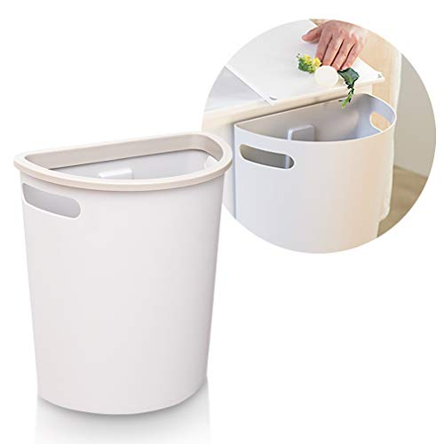 SUBEKYU Small Trash Can, Hanging Waste Bin Under Kitchen Sink, Plastic Wastebasket Over Cabinet Door with Top Ring to Fix Garbage Bag