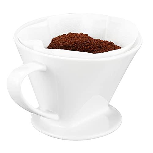 Feelino GR.4 Porzellan Permanent Kaffee Filteraufsatz, Filter, Handfilter, Kaffeefilter Dauerfilter für 2-4 Tassen, Weiß