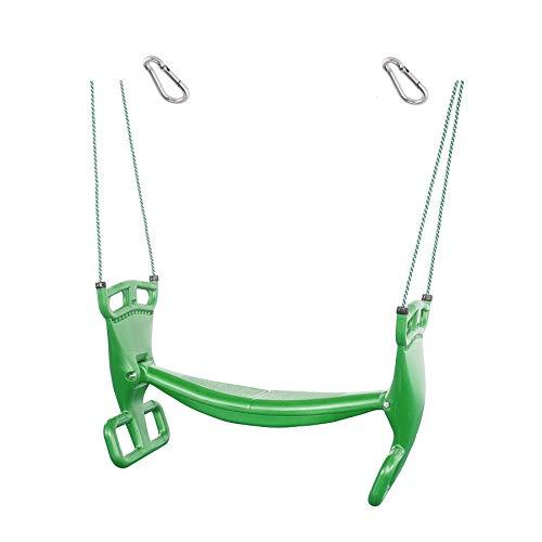 1 pieza h2i balancín doble para niños, color verde, con mosquetón para colgar