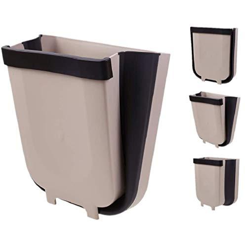 foldable trash cans Hanging Folding Trash Can Bin for Kitchen Cabinet Door, Collapsible Trash Bin Wastebasket Garbage Can Attached to Cabinet Door Kitchen Drawer Bedroom Dorm Room Car Waste Bin - 8L (Coffee)