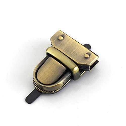 Durable 1 bolsa de metal con cierre de presión para lengua, maletín con cierre de resorte, cierre decorativo, cierre de cuero, accesorios para manualidades (tamaño: bronce)