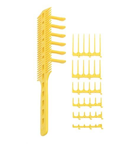 CombPal Scissor Clipper Over Comb Hair Cutting Tool - Barber Hair cutting kit - DIY Home Hair cutting Guide Comb Set (Classic Set, Yellow)