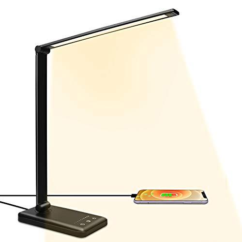 LED Schreibtischlampe Tageslichtlampe mit 10 Helligkeits- und 5 Farbstufen, Ultradünn, augenschonende LED, Speicherfunktion, USB Ladeanschluss,Tischlampe für Kinder [Energieklasse A++] (Schwarz)