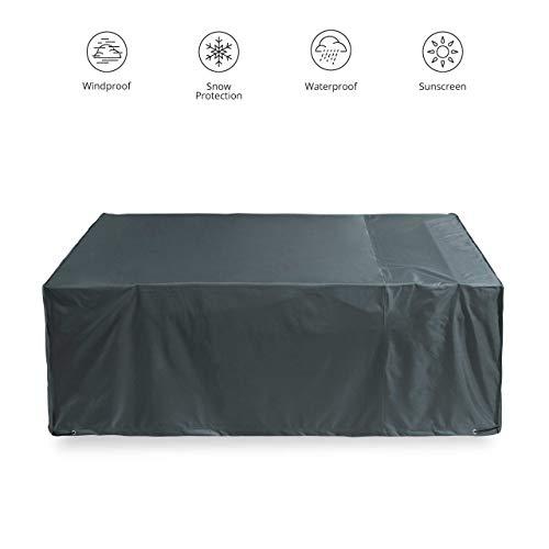 Lumaland Telo Copertura di Protezione per mobili da Giardino Impermeabile 250 x 200 x 80 cm Oxford 600D 280 g/m² Verde/Grigio