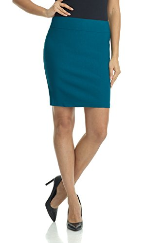 Rekucci Women's Ease Into Comfort Above The Knee Stretch Pencil Skirt 19 inch (Large,Teal)