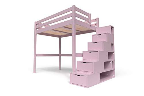 ABC MEUBLES - Hochbett Sylvia mit Treppenregal Holz - Cube - Pastell-lila, 120x200