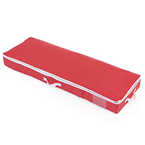 Vencer Holiday 42' Structured Wrap Storage Organizer Under-Bed Storage Container for Holiday Storage of Gift Bags, Red, VHO-004