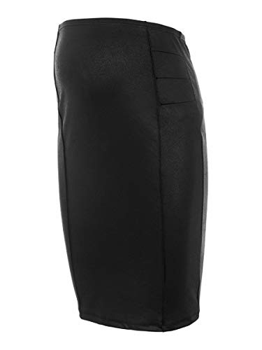 MAMALICIOUS Damen MLLUNA Coated PINTUC Skirt Rock, Black, XS