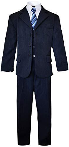 Boys Pinstripe Suit in Grey with Matching Tie Size 2-20 (12, Dark Navy Blue)