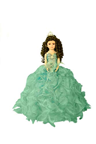 Kinnex Collections by Amanda 20' Porcelain Quince Anos Quinceanera Umbrella Last Doll Muneca Centerpiece ~Aqua~ KB20727H-23