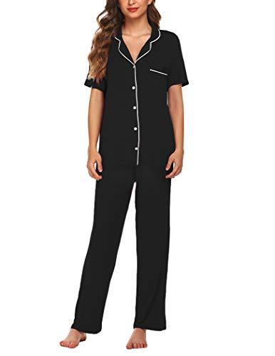 Avidlove Womens Comfort Pajama Set Short-Sleeve with Long Pjs Pants Soft Sleepwear, XX-Large, Black Pj
