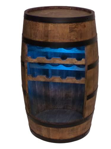 Weinregal Holz - Weinschrank Mini Bar - Weinschrank Mann und Frau - Barschrank mit LED-Leuchten - 80cm hoch - Retro deko Bar Regal - Hausbar Theke - Fassmöbel (Wenge)