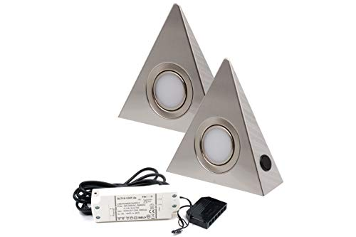 2er Set LED Dreieckleuchte Unterbauleuchte Küchenleuchte Küche LED EDELSTAHL 2x3W Warmweiß 3000K mit Zentralschalter