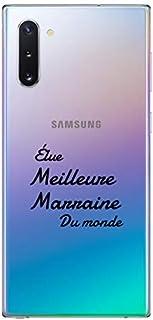 "ZOKKO Case for Samsung Note 10 with""Best Godmother of the World"" Design - Transparent - Black Ink"