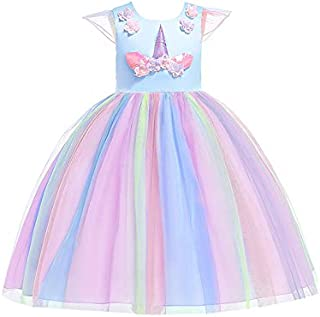 Flower Girl Light Blue Princess Dress Mesh Unicorn Christmas Dress for 9-10Y