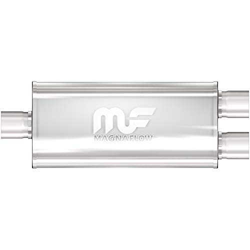 MagnaFlow 5in x 8in Oval Center/Offset Performance Muffler Exhaust 12198 - Straight-Through, 3in Inlet/2.5in Outlet Diameter, 20in Overall Length, Satin Finish - Classic Deep Exhaust Sound