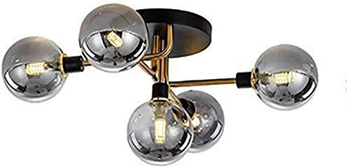 Candelabro Lámpara de Techo Moderna para lámpara de Techo con Pantalla de Vidrio Esmerilado Transparente para Sala de Estar, Comedor, Cocina, Colgante, Plata, coñac-Dorado_Gris Humo Excellent