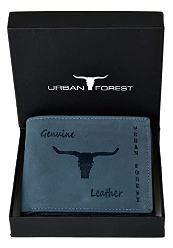 Urban Forest Montana Vintage Blue RFID Blocking Leather Wallet for Men
