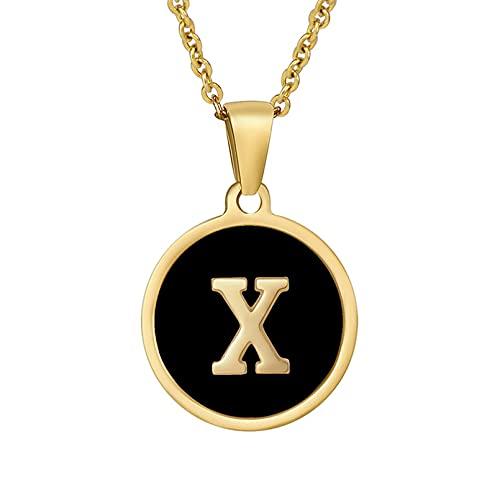 A-Z - Collares cuadrados con inicial de concha natural para mujer, joyería minimalista de acero inoxidable, Acero inoxidable, Sin gemas.,