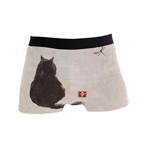 YYZZH Black Fluffy Cat Watch Dragonfly On Vintage Paper Traditional Japanese Ink Painting Mens Boxer Briefs Man Underwear