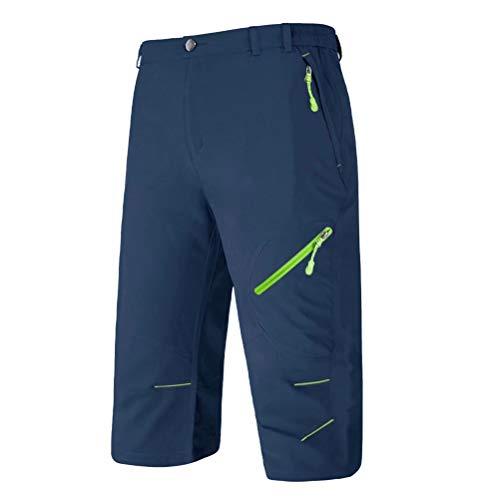 BIYLACLESEN Quick Dry Pants Men Hiking Pants Men Three-Quarter Pants Camping Pants 3/4 Shorts Men Work Pants for Men Fishing Pants for Men