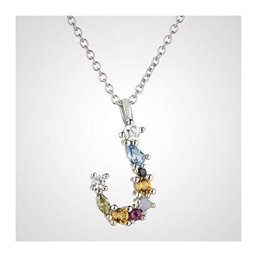 QMDSH 925 Sterling Silver Letter Necklace (Gem Color : Silver J)
