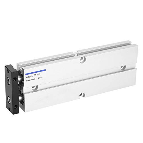 PUSOKEI Cilindro de Aire, Cilindro neumático de Doble acción, Cilindro de Doble Eje y vástago Doble, aleación de Aluminio, 0.1‑0.9MPa(TN16X150-S)