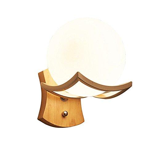 Pouluuo Applique de chevet simple en bois massif LED chambre salon applique murale couloir/tête simple beige