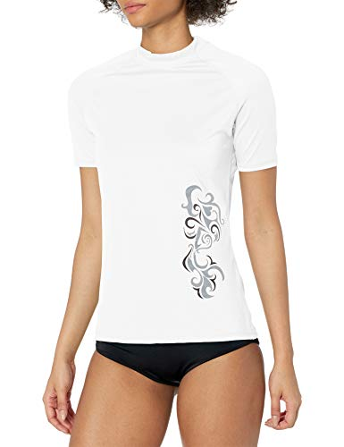 Kanu Surf Women's UPF 50+ Short Sleeved Active Rashguard & Workout Top, Breeze White, X-Large