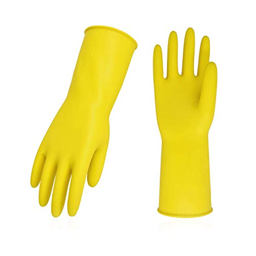 Vgo 3-Pairs Reusable Household Gloves, Rubber Dishwashing gloves, Extra Thickness, Long Sleeves, Kitchen Cleaning, Working, Painting, Gardening, Pet Care (Size M, Yellow, HH4601)