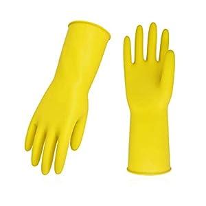 Vgo 10-Pairs Guantes de Limpieza Reutilizables Engrosados con Mangas Largas, para Trabajos Domésticos, Lavar Platos, Limpieza de Cocina, Pintura, Jardinería y Cuidar a Mascotas (8/M,Amarillo,HH4601)