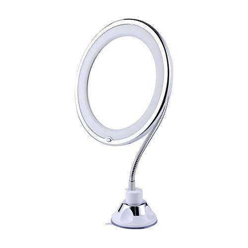 ZXFMT Miroir de Maquillage, grossissement Pliant réglable grossissant Miroir de courtoisie ventouses Fortes avec lumière Naturelle LED