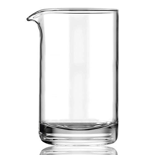 Cocktail Mixing Glass with Seamless and Handblown Construction - Old Fashioned Bar Mixer Glass - Plain Design