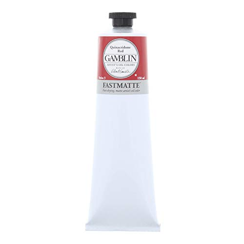 Gamblin Artist Paint, FastMatte Alkyd Colors, Fast Drying Oil Paint, Quinacridone Red, 150ml Tube