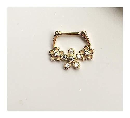 LOEY 1 anillo de nariz perforado para mujeres y hombres (color: oro)